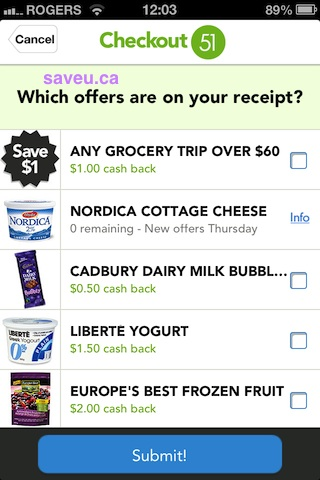 Checkout 51 - Try to Submit Receipt for Nordica Cottage Cheese 0 Remaining - Apr 4-10, 2013