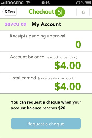 Checkout 51 - See your Cash Rebate Account Balance