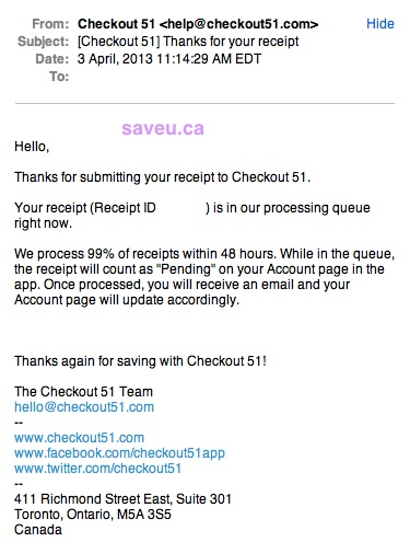 Email from Checkout 51 that Receipt is Pending Approval