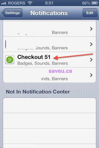 Checkout 51 - Turn off alerts Notifications - Select Checkout 51 Notifications