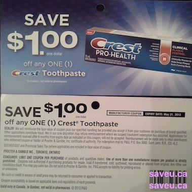 CREST PRINTABLE COUPONS CANADA