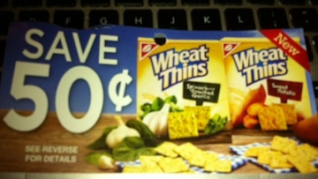 No frills coupon tear pad - save 50 cents on Wheat Thins