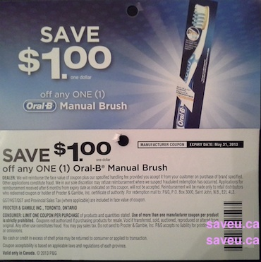 Save $1.00 on Oral-B toothbrush - expires may 31, 2013