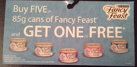 Buy 5 and get 1 free Coupon for Purina Fancy Feast Expires August 31, 2013