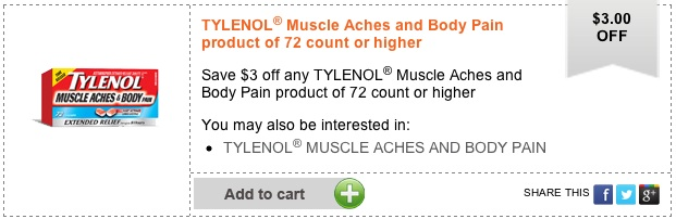 Printable Coupon Save $3 on Tylenol Muscle Aches and Body Pain