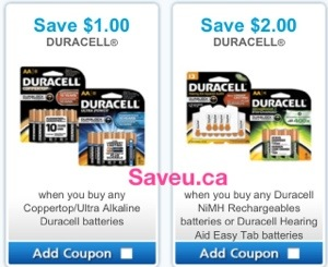 Duracell Coupon Save $1.00 and Save $2.00