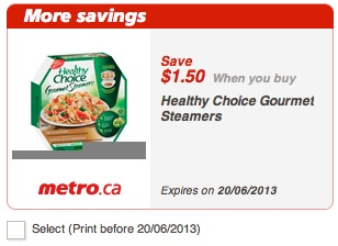 Healthy Choice Gourmet Steamers Coupon - Save  $1.50 on Healthy Choice Gourmet Steamers