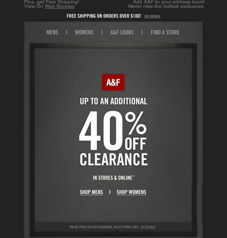 A&F additional 40% off Clearance Mens and Women's Clothing - June 2013