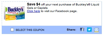 Buckley's Coupon Save $4