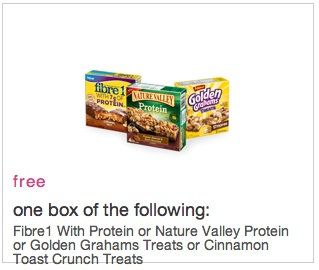 Coupon for Free Box of Protein Bars from fibre 1, cinnamon toast crunch, or nature valley.