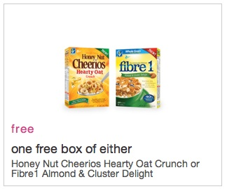 Coupon for Free Honey Nut Cheerios Hearty Oat Crunch or Fibre 1 Almond Cluster Delight