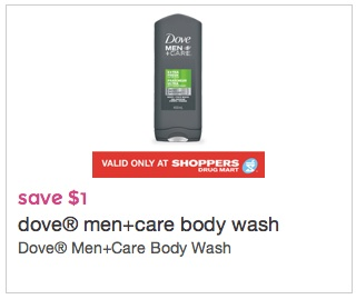 Dove Men+Care body Wash Coupon save $1.00 at Shoppers