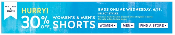 Gap sale 30% off Women's Shorts and Men's Shorts