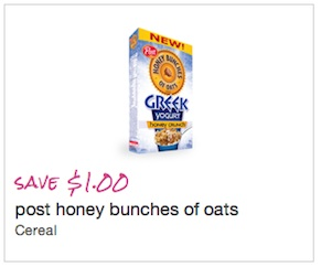 Save $1.00 on Post Honey Bunches of Oats Cereal