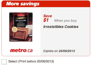 Irresistibles Cookies Coupon - Save $1.00 at Metro