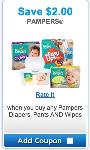 Pampers Coupon 2013 - Save $2 when purchase Pampers diapers and wipes