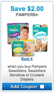 Pampers Coupon - Save $2.00 on Pampers Swaddlers, Pampers Cruisers