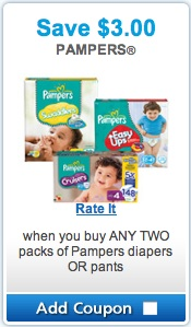 Pampers Coupon - save $3.00 on pampers diapers or pants