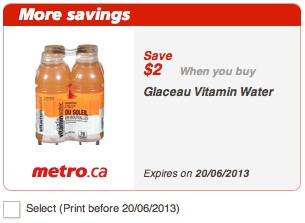 Glaceau Vitamin Water Coupon - Save $2 at Metro June 2013