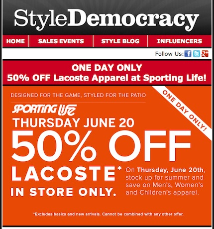 Sporting Life Save 50% off Lacoste Thursday June 20, 2013