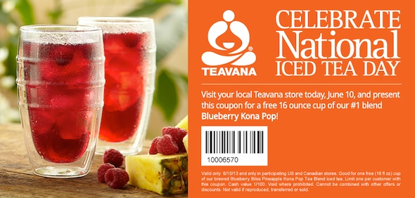 Teavava free offer Blueberry kona pop