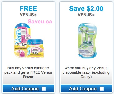 Venus Coupons June 2013 - Buy 1 get 1 free, Save $2.00 coupons