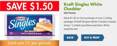Canada Kraft Singles White Cheddar Save $1.00