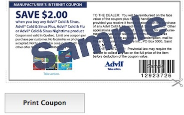 Advil Cold & Sinus Coupon Save $2