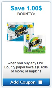 Bounty Mailable Coupon - Save $1 on Bounty Paper Towels or Bounty Napkins