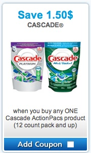 Cascade Mailable Coupon - Save $1.50 on Cascade Actionpacs