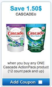 Cascade Mailable Coupon - Save $1.50 on Cascade Actionpacs