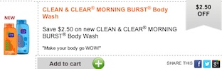 Clean & Clear Coupon - Save $2 on Clean & Clear Morning Burst Body wash
