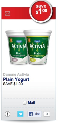 Save $1 on Danone Activia Yogurt Plain Sweetened and Unsweetened
