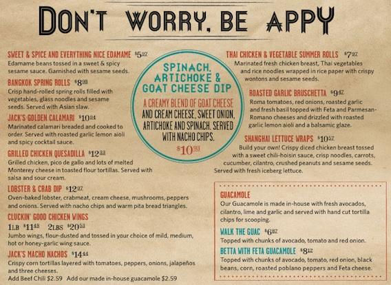 Jack Astors Dinner Appetizer Menu Toronto July 2013