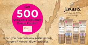 Jergens Natural Glow Promotion - Get extra 500 shoppers points