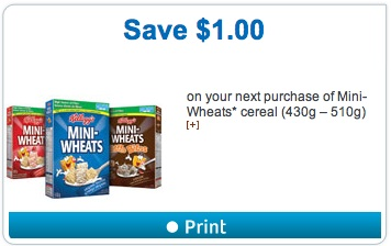 Kellogg's Mini-Wheats Cereal Coupon Save $1