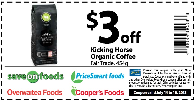 Kicking Horse Coffee Coupon July 2013