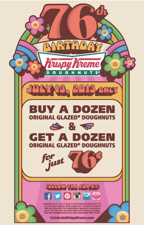 Krispy Kreme 76th Birthday Celebration Promotion