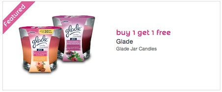 Mailable Coupon - Buy 1 get 1 free - Glade Candle Jars