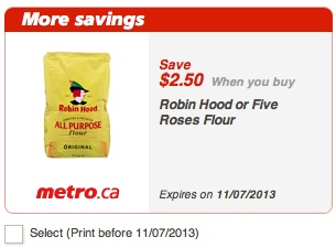 Printable Metro Coupon to save $2.50 on Robin Hood Flour