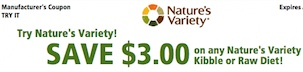 Nature's Variety Coupon Save $3 on Instinct Kibble