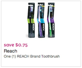 Reach Printable Coupon - Save $0.75 on 1 Reach Toothbrush