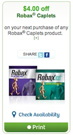 Robax Coupon - Printed Coupon to save $4 on Robax Caplets