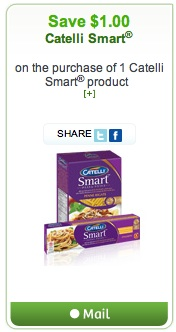 Mailable Coupon Save $1 on Catelli Smart Pasta