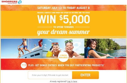 Shoppers Drug Mart Content to win $5000