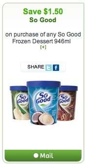 So Good Coupon - Save $1.50 on So Good Frozen Desserts Icecream
