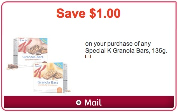 Hidden Websaver.ca coupon to Save $1 on Special K Granola Bars
