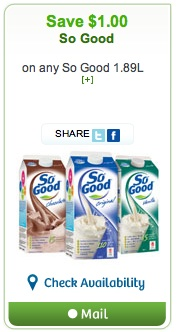 So Good Soy Beverage Coupon Save $1 on 1 So Good Beverage