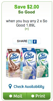 So Good Soy Beverage Coupon Save $2 on 2 So Good Beverage