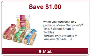 Dempster's coupon - Save $1 on Dempster's Thins Sliced Bread
